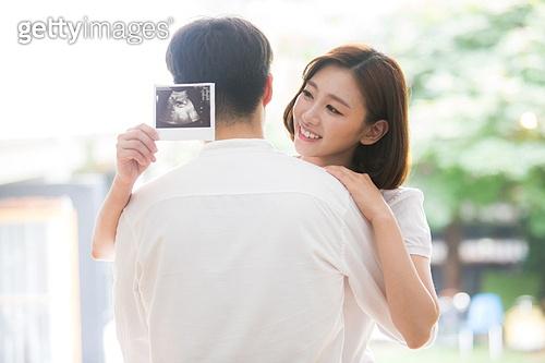 부부, 미소, 행복, 임신, 포옹