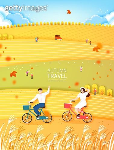 벡터파일 (일러스트), 풍경 (컨셉), 단풍 (가을), 백그라운드 (주제), 단풍길, 여행, 휴식, 가족