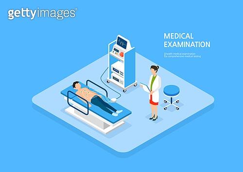 의료행위 (사건), 건강관리 (주제), 건강검진, 병원 (의료시설), 환자, 진찰 (의료행위), 아이소메트릭 (구도), 의사, 맥박표시 (모니터링장비)