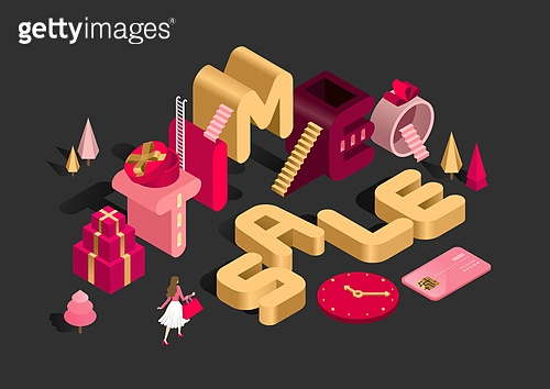 타이포그래피 (문자), 쇼핑 (상업활동), 상업이벤트 (사건), 세일 (사건), 연말, 선물 (인조물건), 아이소메트릭 (구도), 사다리, 계단, 신용카드