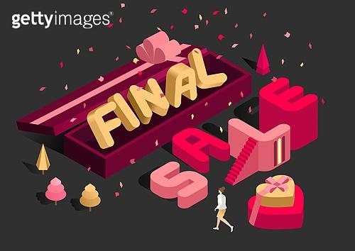 타이포그래피 (문자), 쇼핑 (상업활동), 상업이벤트 (사건), 세일 (사건), 연말, 선물 (인조물건), 아이소메트릭 (구도), 선물상자, 꽃가루