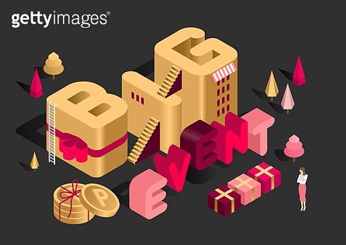 타이포그래피 (문자), 쇼핑 (상업활동), 상업이벤트 (사건), 세일 (사건), 연말, 선물 (인조물건), 아이소메트릭 (구도), 사다리, 선물상자, 마일리지 (금융)