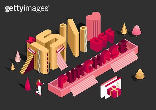 타이포그래피 (문자), 쇼핑 (상업활동), 상업이벤트 (사건), 세일 (사건), 연말, 선물 (인조물건), 아이소메트릭 (구도), 계단, 사다리, 선물상자