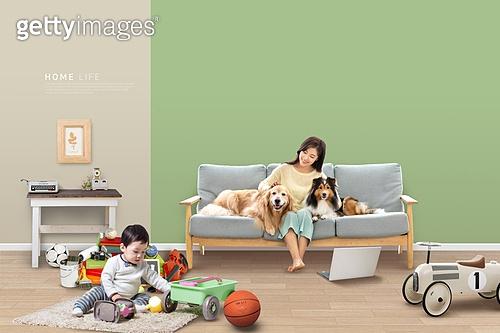 라이프스타일 (주제), 실내, 집안 (집), 집, 행복 (컨셉), 즐거움 (컨셉), 가족, 애완견 (개), 반려동물 (길든동물)