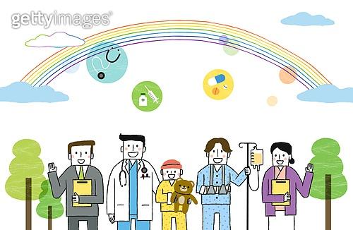 사회복지 (사회현상), 희망, 사람, 공동체, 공동체 (컨셉), 의사, 간호사, 환자, 무지개, 보험설계사 (금융직)