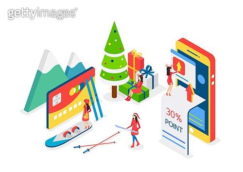 크리스마스, 연말, 상업이벤트 (사건), 쇼핑 (상업활동), 세일 (사건), 선물 (인조물건), 아이소메트릭, 크리스마스데코레이션 (장식품), 크리스마스트리 (크리스마스데코레이션), 신용카드, 스키 (겨울스포츠)