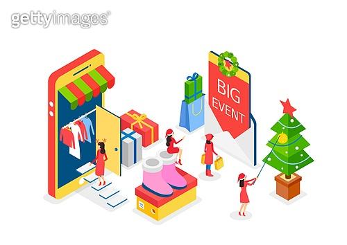 크리스마스, 연말, 상업이벤트 (사건), 쇼핑 (상업활동), 세일 (사건), 선물 (인조물건), 아이소메트릭, 크리스마스데코레이션 (장식품), 크리스마스트리 (크리스마스데코레이션), 스마트폰, 옷, 패션