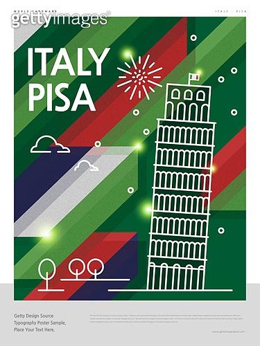랜드마크 (묘사), 포스터, 여행, 세계여행, 패턴, 기하학모양 (도형), 이탈리아 (남부유럽), 이탈리아문화 (세계문화), 피사의사탑