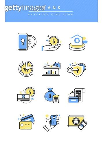 아이콘, 아이콘세트 (아이콘), 라인아이콘, 비즈니스, 은행 (금융빌딩), 은행업무 (금융), 환율 (금융), 신용카드, 영수증 (서류), 보안 (컨셉)