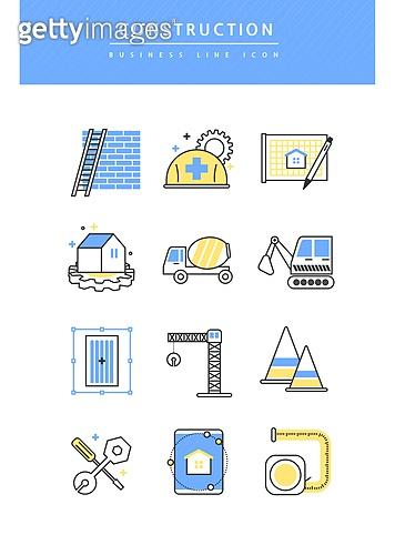 아이콘, 아이콘세트 (아이콘), 라인아이콘, 비즈니스, 건설현장 (인조공간), 건설업 (산업), 안전모, 사다리, 크레인, 콘크리트 (건설자재), 포크레인