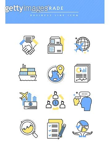 아이콘, 아이콘세트 (아이콘), 라인아이콘, 비즈니스, 거래 (상업활동), 화물운송 (운수), 악수, 계약, 배달 (일), 화물컨테이너 (산업장비), 환율 (금융)