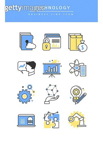 아이콘, 아이콘세트 (아이콘), 라인아이콘, 비즈니스, 기술, 4차산업혁명 (산업혁명), 차트, 사람손 (주요신체부분), 로봇팔 (로봇), 서류 (인쇄매체), 보안 (컨셉)