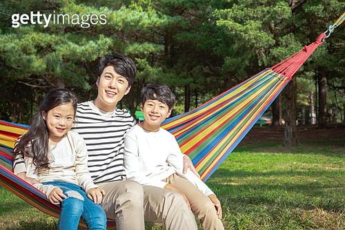 가족, 캠핑 (아웃도어), 해먹, 미소, 즐거움