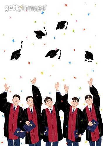 학생, 고등학생, 졸업, 기쁨, 졸업가운, 학사모, 꽃가루, 남학생, 기쁨 (컨셉), 학위증서 (증명서), 졸업 (학교생활), 축하이벤트 (사건)