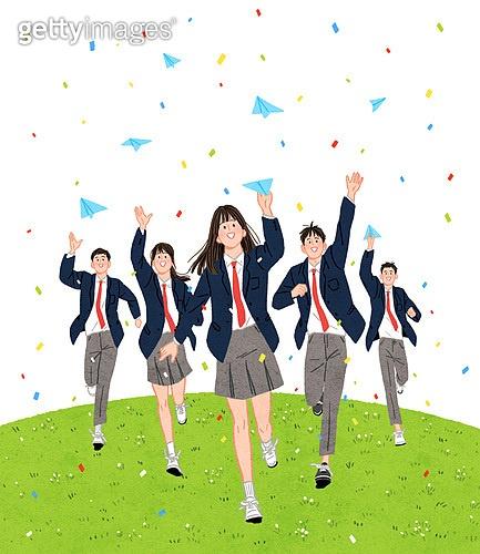 학생, 고등학생, 졸업, 기쁨, 달리는 (물리적활동), 교복, 여학생, 남학생, 봄, 축하이벤트 (사건), 잔디밭 (경작지), 종이비행기