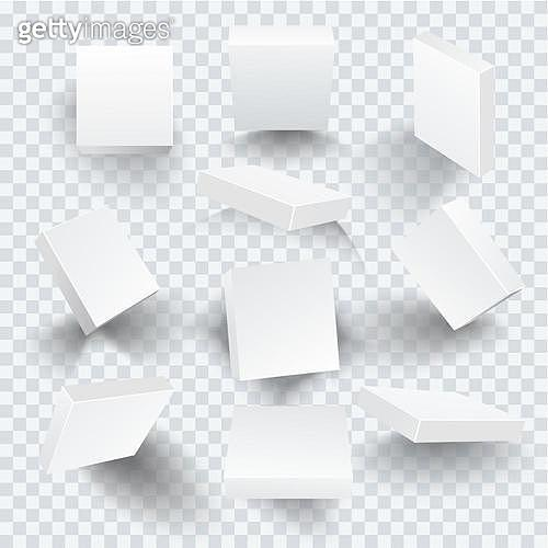Set of white blank boxes with different shadows. Template for your design. Vector illustration.