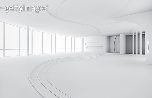 Abstract empty modern apartment interior 3d render