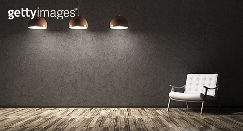 Interior of living room with recliner chair, wooden floor, three lamps over concrete wall 3d rendering