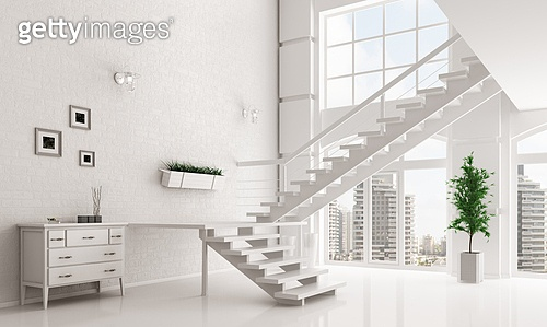 Modern white hall with staircase interior 3d rendering