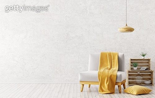 Modern interior design of living room with white armchair,yellow plaid on it,wooden lamp and boxes over gray stucco wall 3d rendering