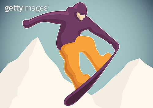 Illustration of a snowboarder