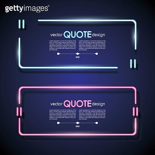 Set neon quote frames. Vector lighting sign.