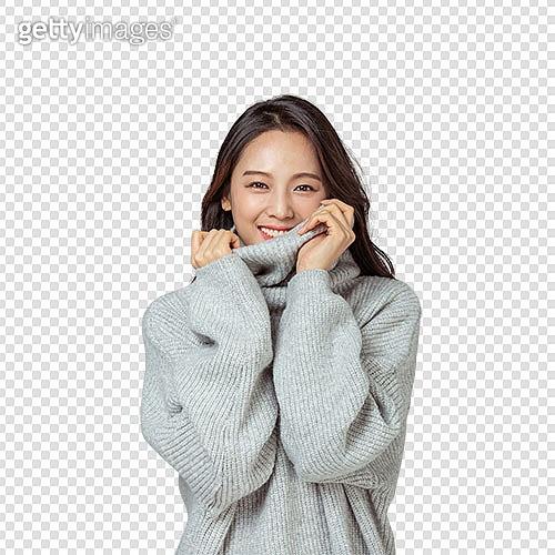 PNG, 누끼, 누끼 (컷아웃), 한국인, 여성, 겨울, 스웨터 (상의), 포즈 (몸의 자세), 따뜻한옷