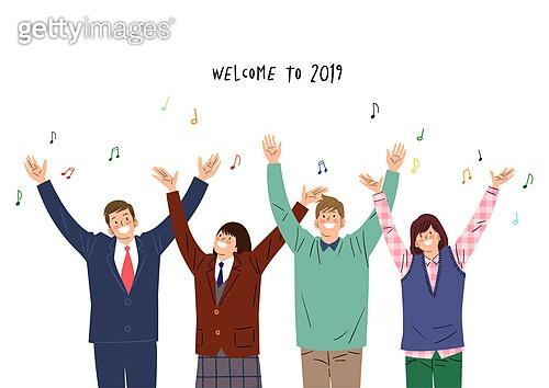 2019년, 새해 (홀리데이), 환호 (말하기), 희망, 기쁨, 음표, 만세, 비즈니스맨, 고등학생