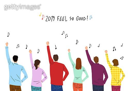 2019년, 새해 (홀리데이), 환호 (말하기), 희망, 기쁨, 음표, 뒷모습, 화이팅