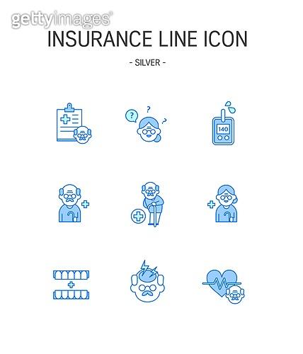 아이콘세트 (아이콘), 벡터파일 (일러스트), 상해보험, 보험 (주제), 치매, 노인 (성인), 노인건강 (실버라이프), 노인