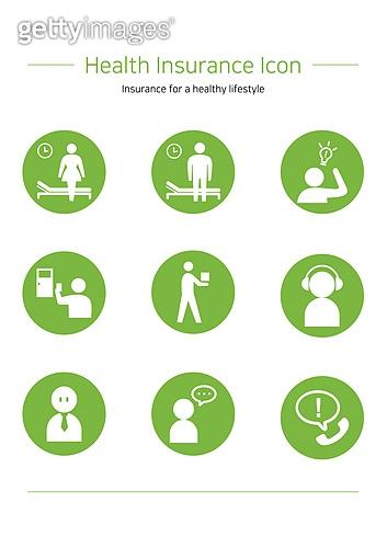 아이콘세트 (아이콘), 보험 (주제), 건강한생활 (주제), 의료보험 (보험), 혜택, 건강관리 (주제), 상해 (건강이상), 병원 (의료시설), 환자 (역할), 고객서비스상담원 (전화업무)
