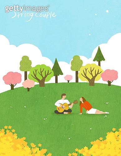 봄, 계절, 꽃, 꽃놀이, 커플, 사랑 (컨셉), 잔디밭 (경작지), 공원, 청년 (성인), 벚꽃, 벚나무 (과수), 기타 (현악기)