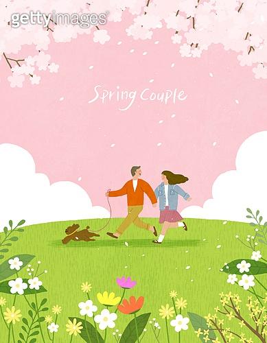 봄, 계절, 꽃, 꽃놀이, 커플, 사랑 (컨셉), 잔디밭 (경작지), 공원, 청년 (성인), 벚꽃, 벚나무 (과수), 반려동물, 강아지