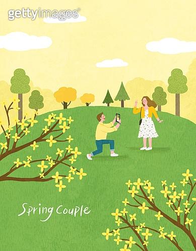 봄, 계절, 꽃, 꽃놀이, 커플, 사랑 (컨셉), 잔디밭 (경작지), 공원, 청년 (성인), 프로포즈 (축하이벤트), 개나리