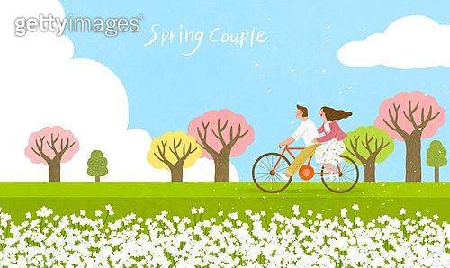 봄, 계절, 꽃, 꽃놀이, 커플, 사랑 (컨셉), 잔디밭 (경작지), 공원, 청년 (성인), 벚꽃, 벚나무 (과수), 자전거