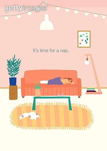 라이프스타일 (주제), 일러스트, 낮잠, 방학, 휴가, 회복 (컨셉), 지루함 (컨셉)