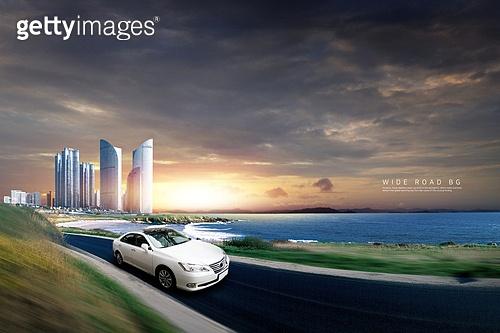 그래픽이미지, 풍경 (컨셉), 자동차, 도로, 속도 (컨셉), 하늘, 여행, 도시