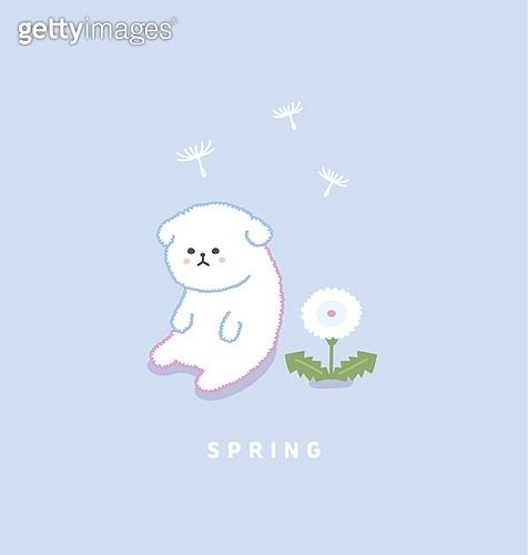봄, 꽃, 캐릭터, 배너, 동물