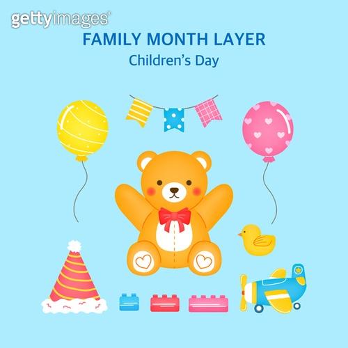 일러스트, 벡터파일 (일러스트), 5월, 가정의달, 어린이날 (홀리데이), 선물 (인조물건), 오브젝트 (묘사), 테디베어 (장난감), 생일