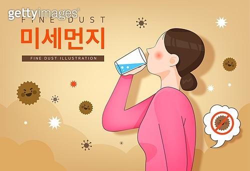 일러스트, 환경, 대기오염 (공해), 기침, 건강관리 (주제), 질병 (건강이상), 먼지, 마스크 (방호용품)