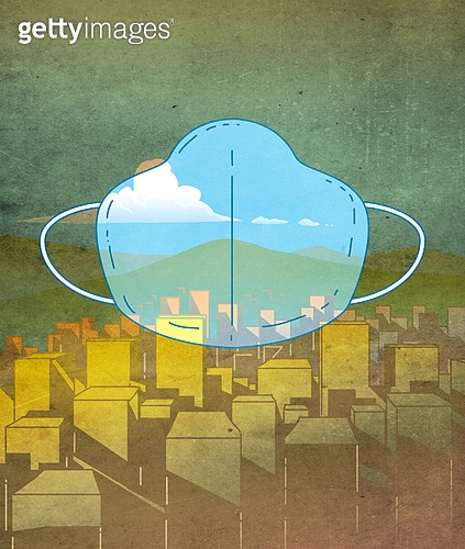 건강관리, 대기오염, 사고재해, 스모그 (대기오염), 환경오염, 공해 (환경오염), 풍경 (컨셉), 마스크 (방호용품)