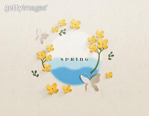 봄, 꽃, 페이퍼아트, 배너