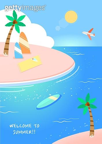 일러스트, 벡터파일 (일러스트), 여름, 휴가 (주제), 여행, 바다, 해변, 야자나무