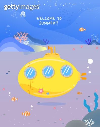 일러스트, 벡터파일 (일러스트), 여름, 휴가 (주제), 여행, 바다, 해변, 잠수함, 대양저 (지세)