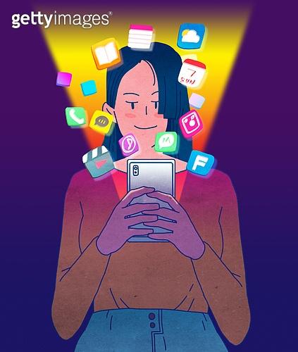 일러스트, 스마트폰, 휴대폰 (전화기), 라이프스타일 (주제), SNS (기술), 정보매체 (정보장비), 어플리케이션 (컴퓨터소프트웨어), 모바일결제 (금융아이템), 온라인쇼핑