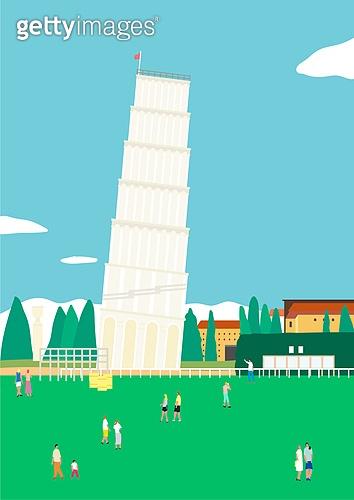 여행, 풍경 (컨셉), 카피스페이스 (콤퍼지션), 사람, 휴가, 이탈리아 (남부유럽), 피사의사탑, 잔디밭 (경작지)