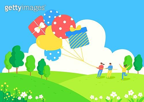 가정의달 (홀리데이), 5월, 기념일, 사람, 봄, 어린이날 (홀리데이), 어린이 (인간의나이), 풍선, 선물 (인조물건)