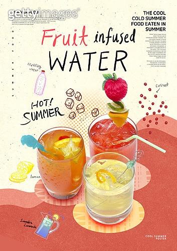 그래픽이미지, 레이아웃, 포스터, 이벤트페이지, 여름, 음식, 휴가, 라인아트 (일러스트기법), 콜라주, 음료, 탄산음료 (소다), 에이드 (차가운음료)