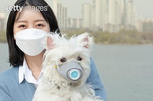 여성, 대기오염 (공해), 마스크 (방호용품), 애완견 (개)