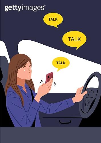 소셜미디어마케팅 (디지털마케팅), 사회문제, 이슈, 중독, 스마트폰, 스몸비 (컨셉), 운전, 문자메시지 (전화걸기), 여성 (성별), 안전불감증 (컨셉)